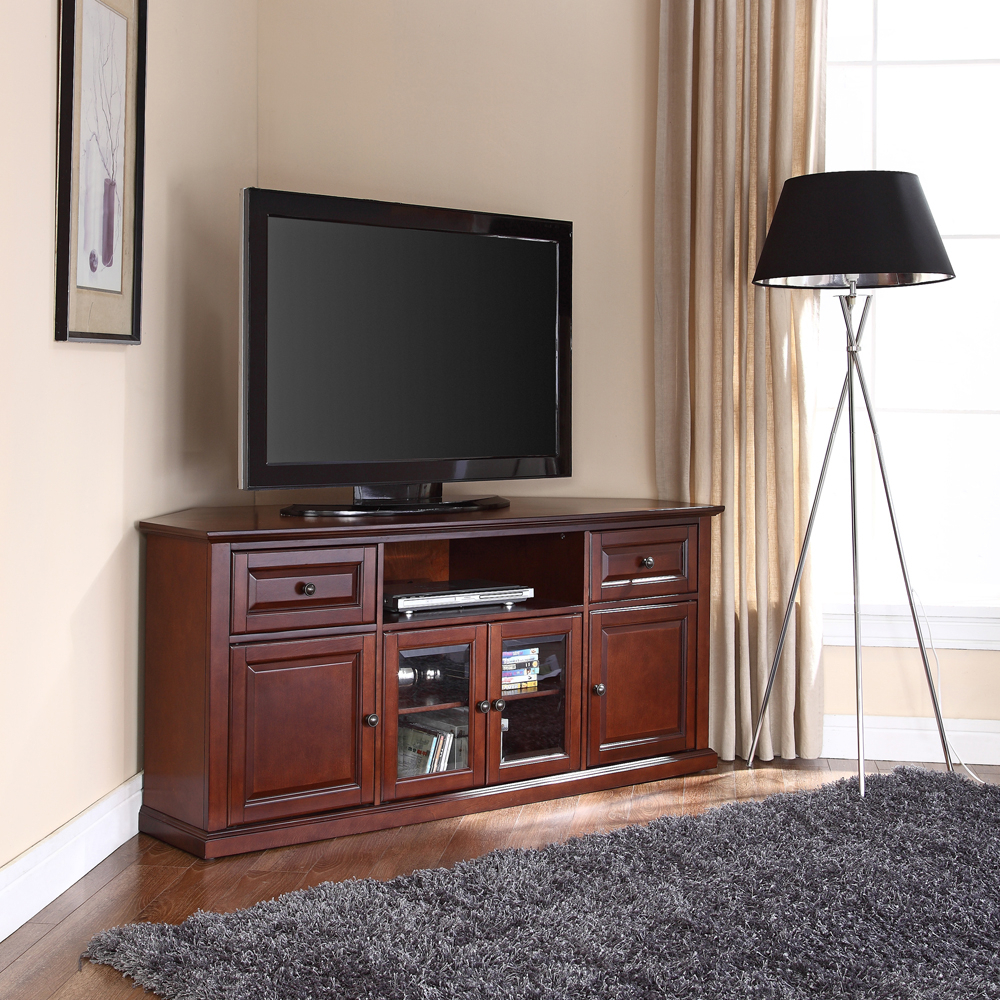 """Lorraine Tv Stands For Tvs Up To 60"""" Within Favorite Crosley Furniture – 60"""" Corner Tv Stand In Vintage (View 2 of 20)"""