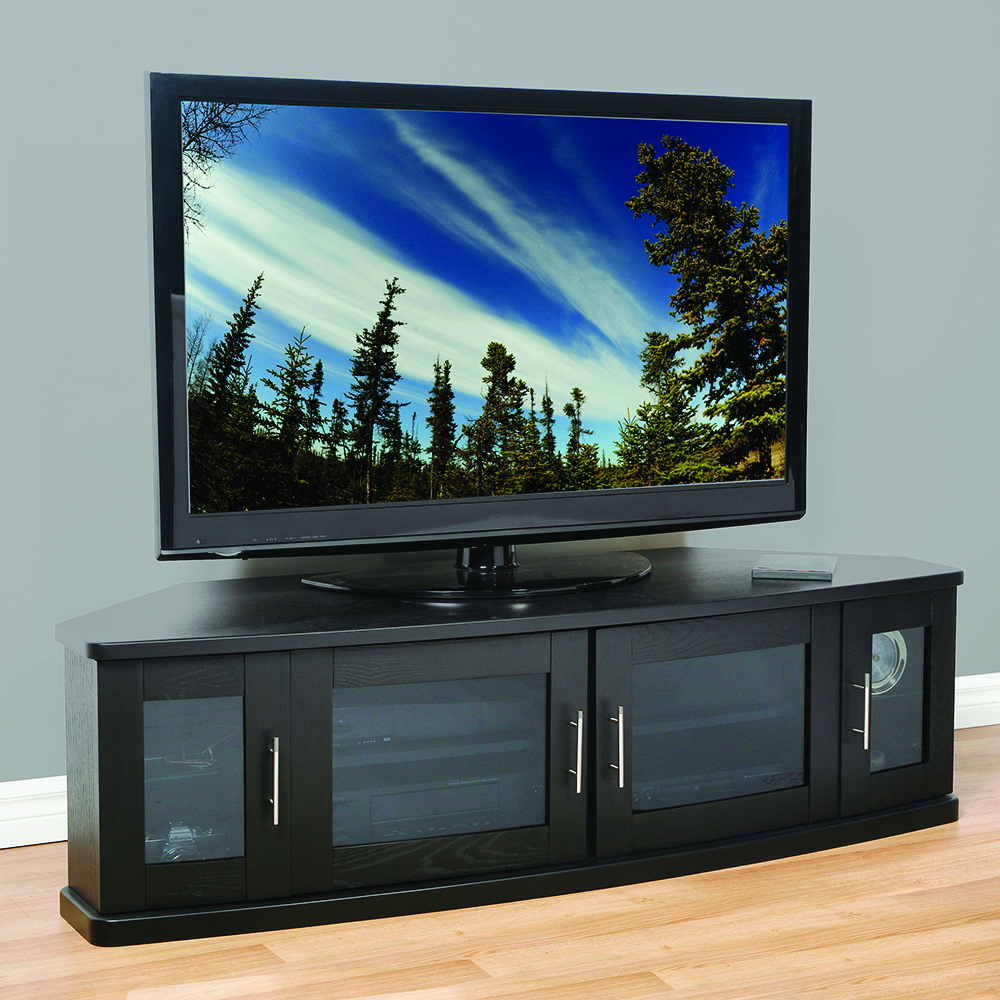 """Lorraine Tv Stands For Tvs Up To 70"""" For Latest Plateau Newport62b Corner Tv Stand Up To 70"""" Tvs In Black (View 12 of 20)"""