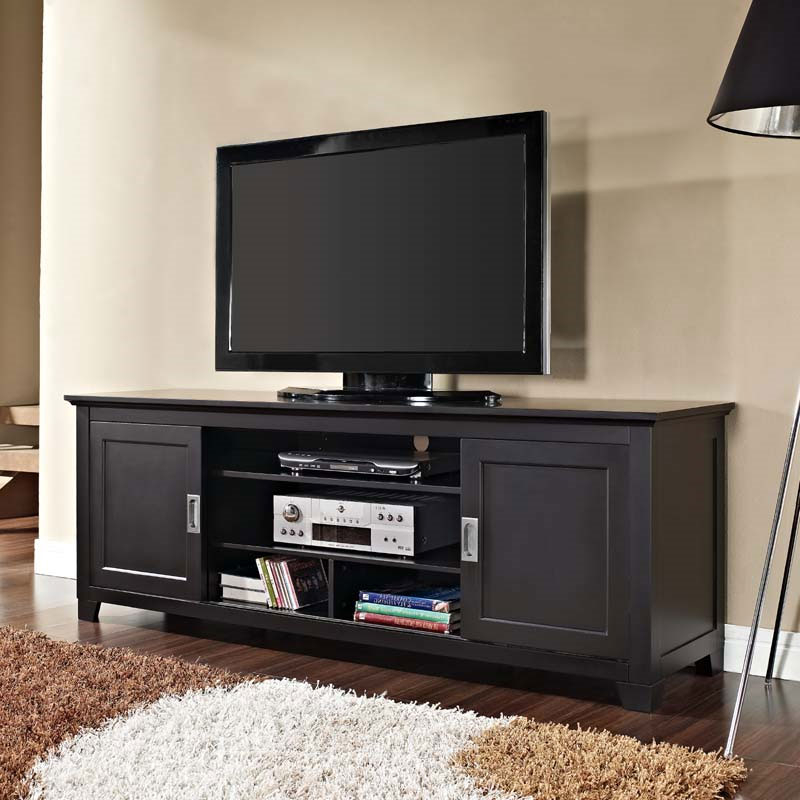 """Mainor Tv Stands For Tvs Up To 70"""" Intended For Most Current Walker Edison Solid Wood 70 Inch Tv Stand With Sliding (View 14 of 20)"""