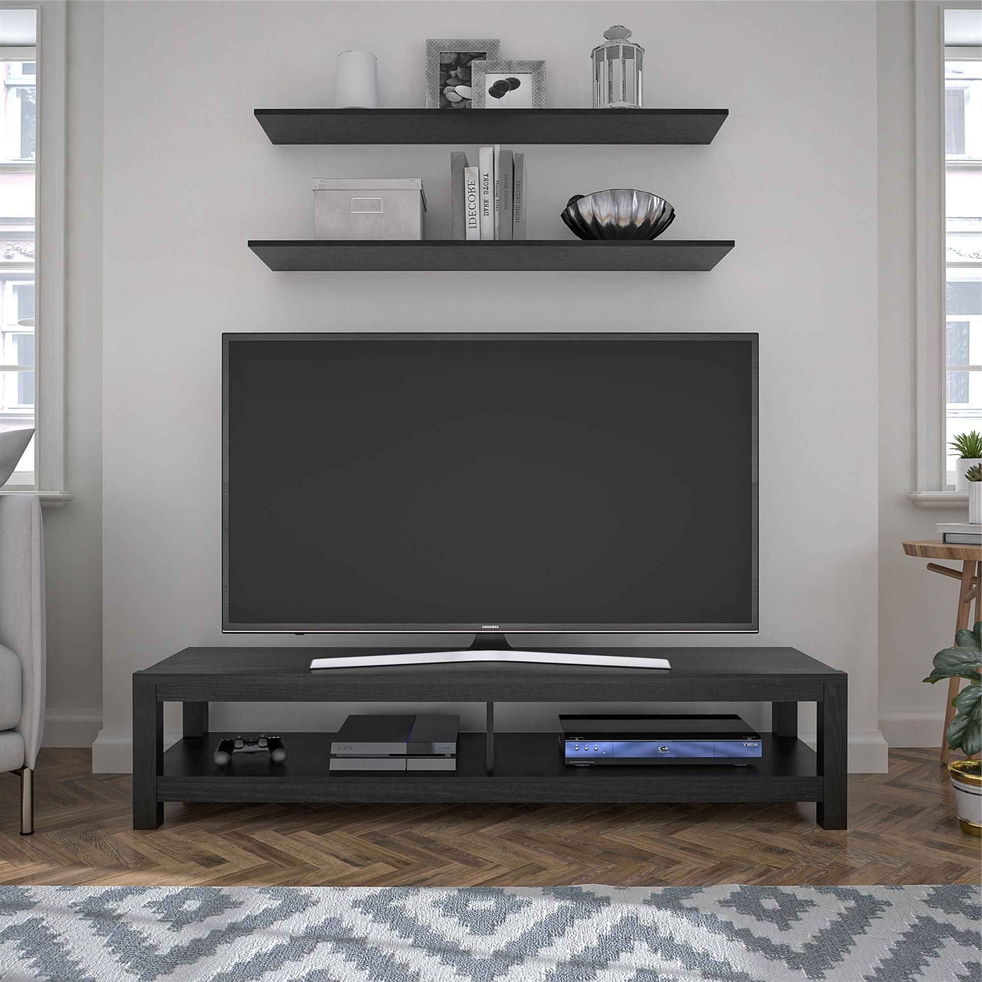 """Mainstays Easy Assembly Tv Stand For Tv's Up To 65"""", Black Regarding 2019 Adalberto Tv Stands For Tvs Up To 65"""" (View 18 of 20)"""
