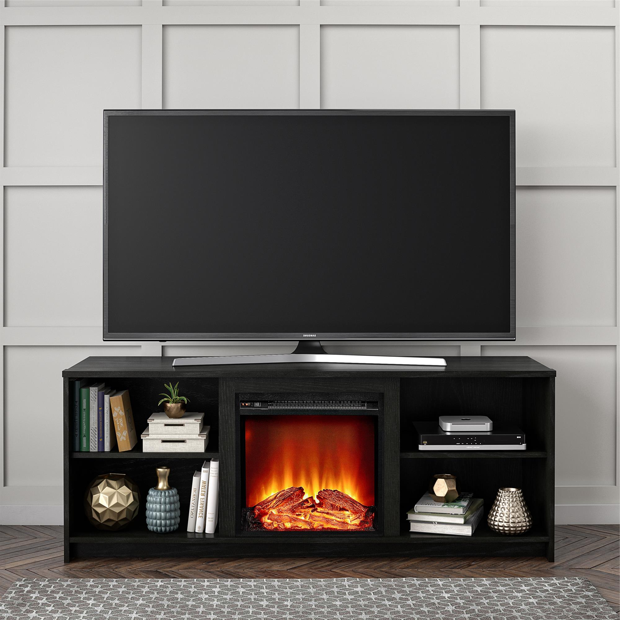 """Mainstays Fireplace Tv Stand For Tvs Up To 65"""", Black Oak In Current Binegar Tv Stands For Tvs Up To 65"""" (View 6 of 20)"""