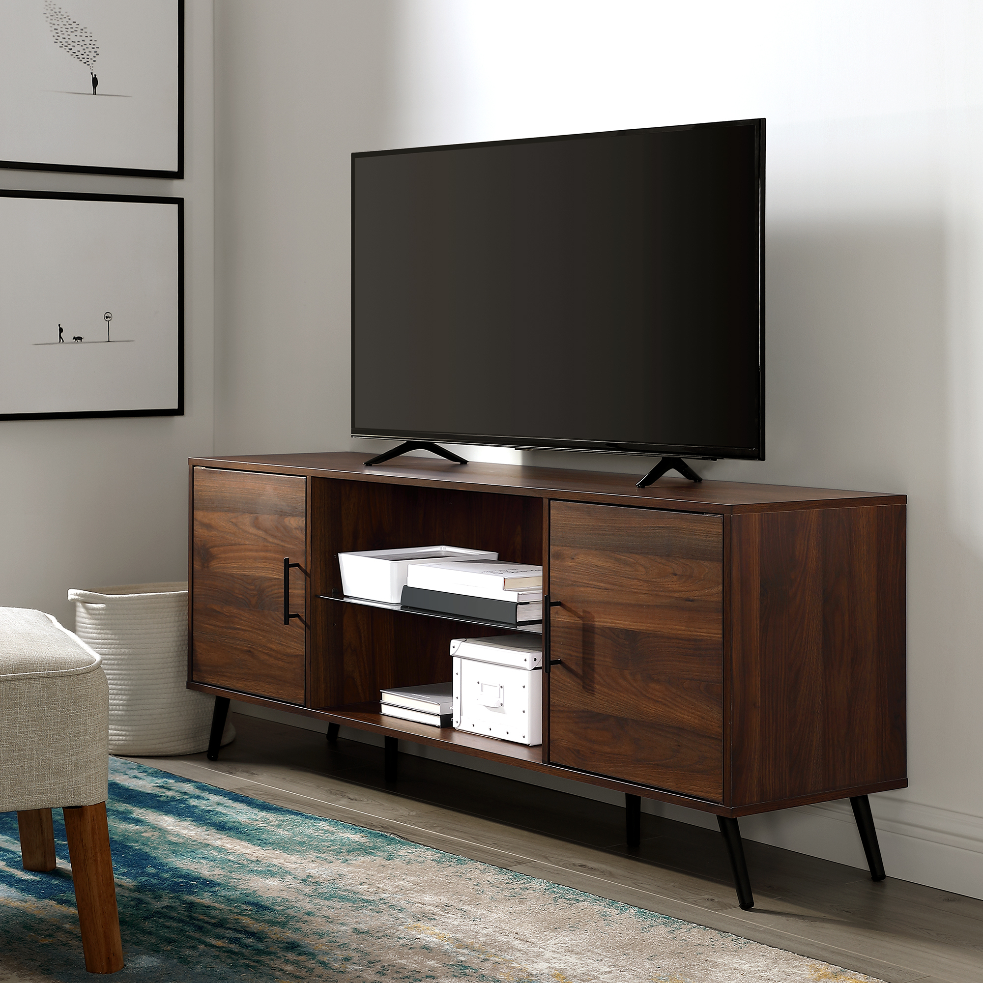 """Manor Park Mid Century 2 Door Tv Stand For Tvs Up To 65 Throughout Most Popular Dallas Tv Stands For Tvs Up To 65"""" (View 12 of 20)"""
