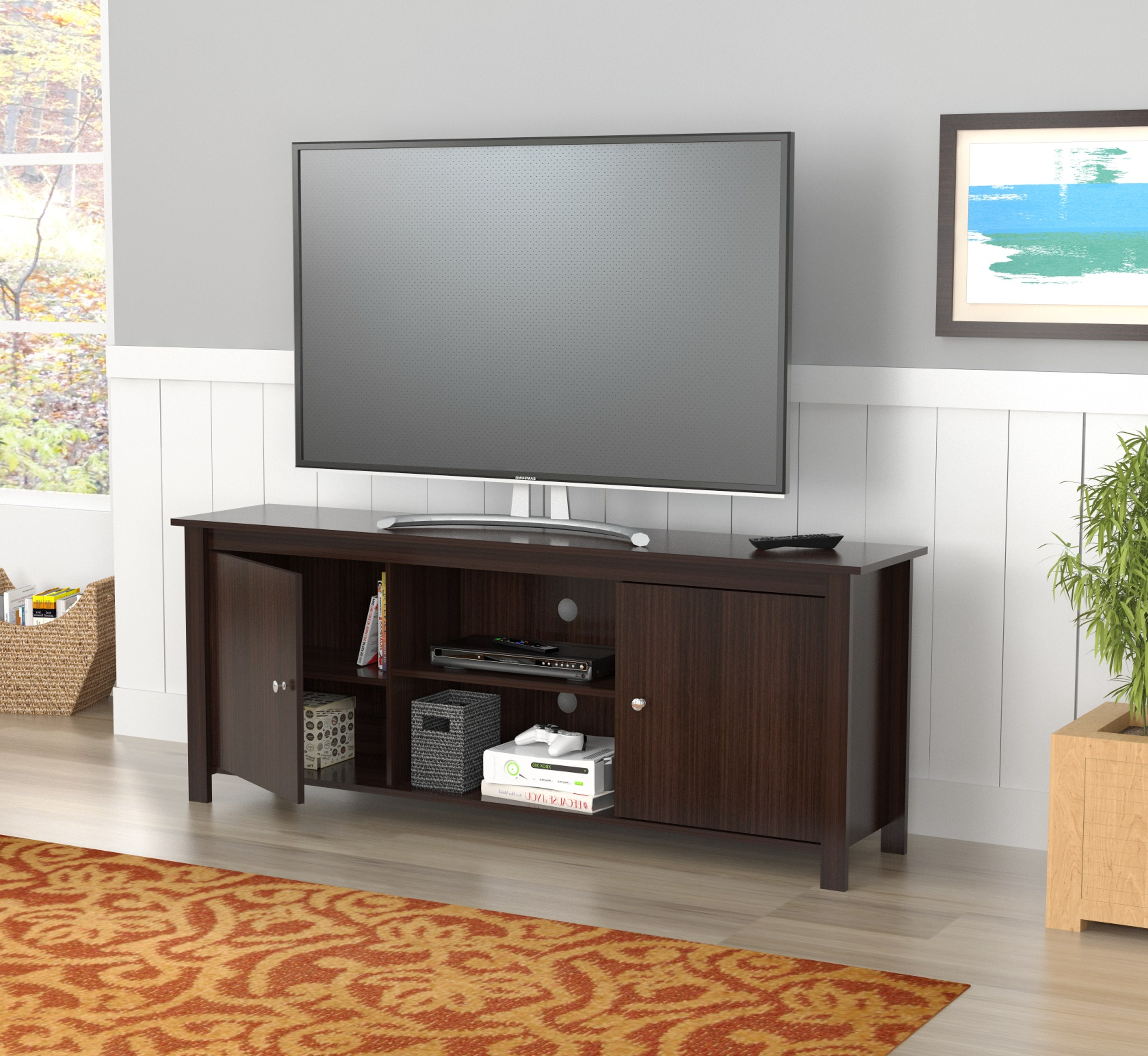 """Miah Tv Stands For Tvs Up To 60"""" Regarding Latest Inval Contemporary Espresso 60 Inch Tv Stand – Walmart (View 17 of 20)"""