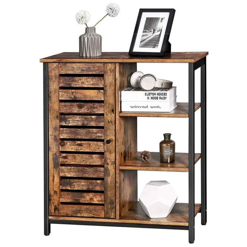 Millwood Pines Floor Storage Cabinet With 2 Doors And 2 Open Shelves Pertaining To Famous Millwood Pines Storage Accent Cabinet Cupboard With 3 Open (View 14 of 20)