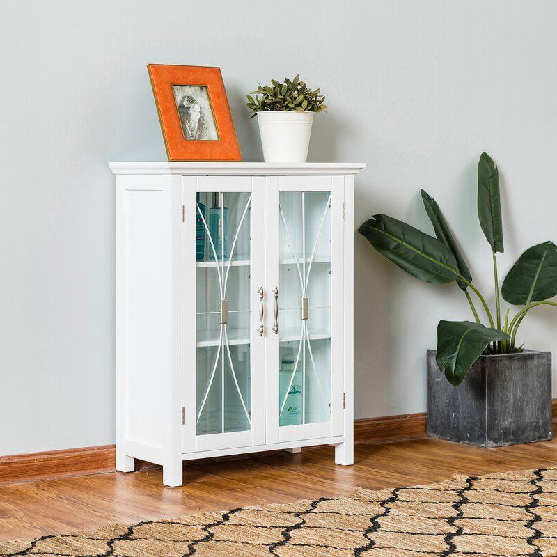"Millwood Pines Floor Storage Cabinet With 2 Doors And 2 Open Shelves With Widely Used Linder 2 Door Floor 24"" W X (View 7 of 20)"