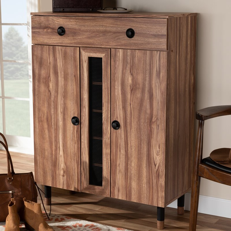 Featured Photo of Millwood Pines Floor Storage Cabinet With 2 Doors And 2 Open Shelves