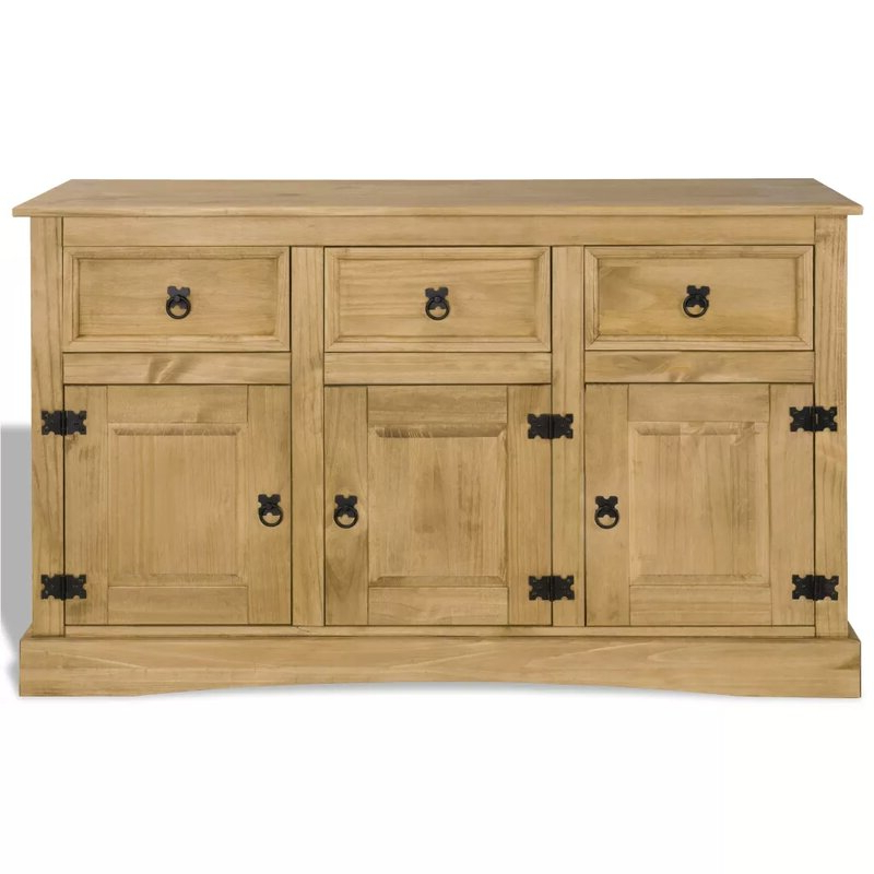 """Millwood Pines Jaeger Mexican 52"""" Wide 3 Drawer Pine Wood Regarding Recent Millstadt 52"""" Wide 3 Drawer Pine Wood Buffet Tables (View 4 of 20)"""