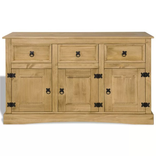 """Millwood Pines Jaeger Mexican 52"""" Wide 3 Drawer Pine Wood Throughout Latest Millstadt 52"""" Wide 3 Drawer Pine Wood Buffet Tables (View 3 of 20)"""
