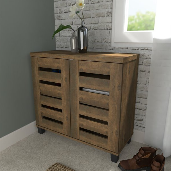 Millwood Pines Lismore 12 Pair Shoe Storage Cabinet Regarding Most Popular Millwood Pines Floor Storage Cabinet With 2 Doors And 2 Open Shelves (View 8 of 20)