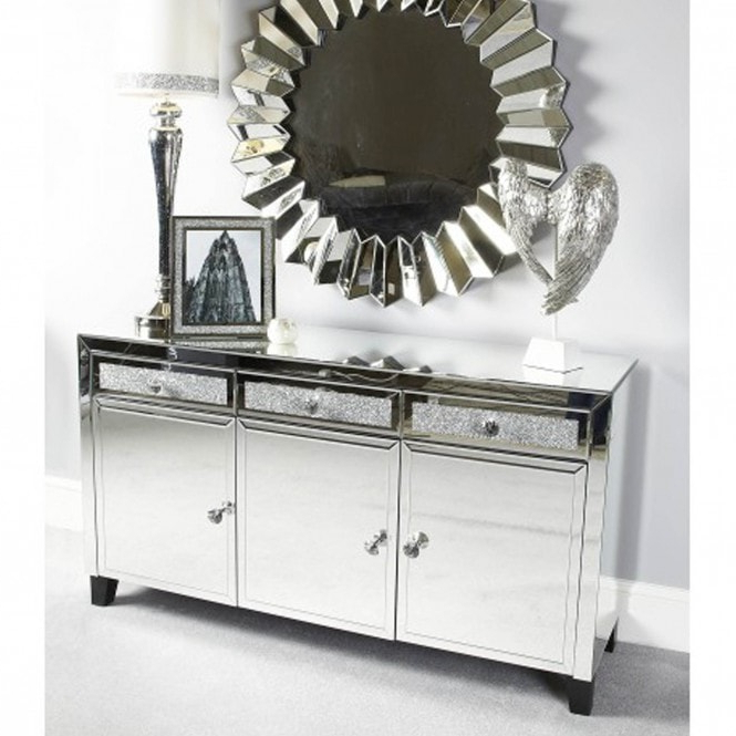 Mirrored Crystal Sideboard Within 3 Drawer Sideboards (View 15 of 20)