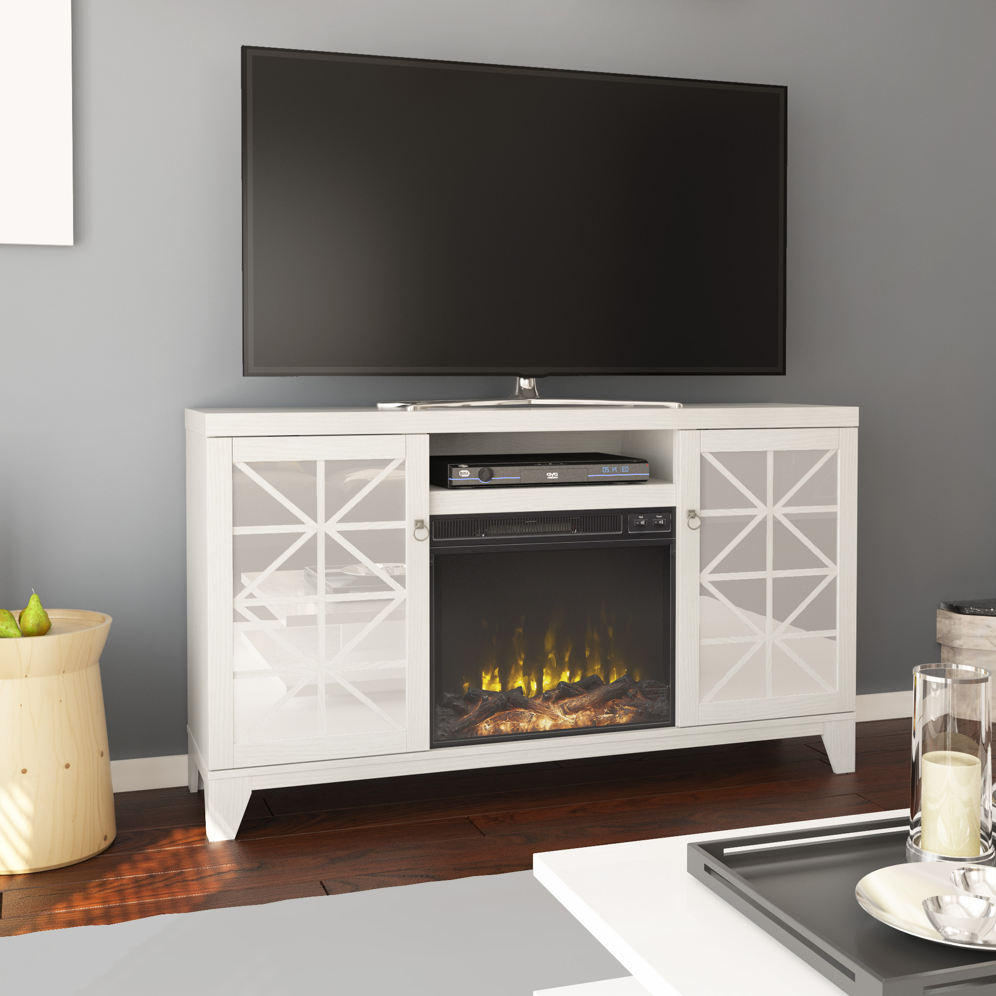 """Mirrored Door Tv Stand With Electric Fireplace For Tvs Up Throughout Well Known Adalberto Tv Stands For Tvs Up To 65"""" (View 2 of 20)"""