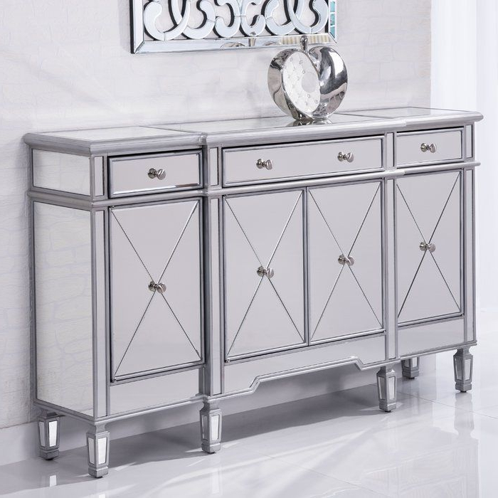 """Mirrored Sideboard Pertaining To Preferred Maeva 60"""" 3 Drawer Sideboards (View 18 of 20)"""