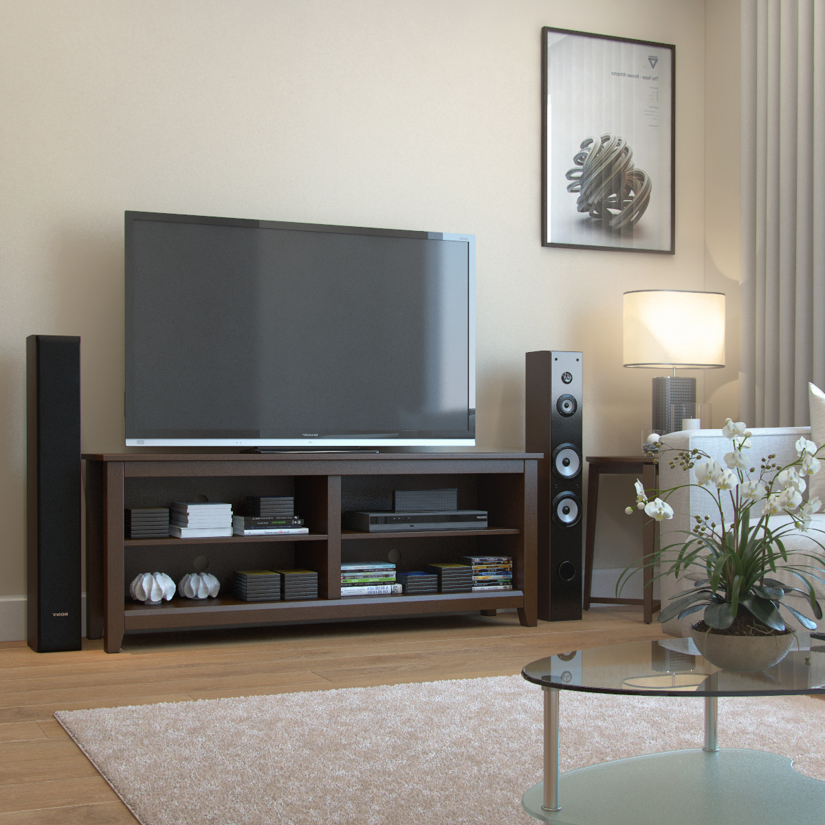 """Mission 58 Inch Wood Tv Console In Espresso Throughout Popular Labarbera Tv Stands For Tvs Up To 58"""" (View 15 of 20)"""