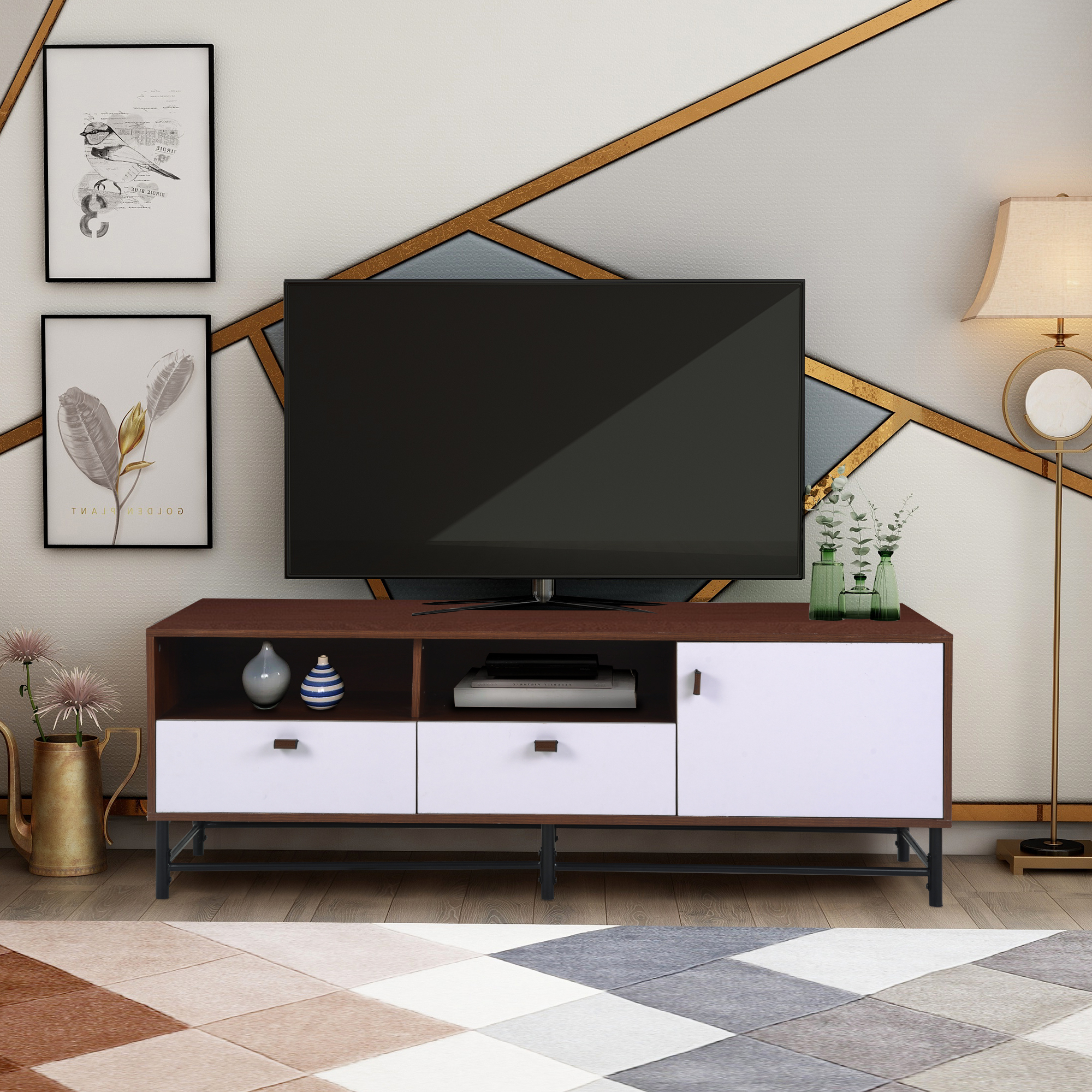 """Modern Tv Stand Cabinet, Farmhouse Tv Stand For Tvs Up To Within Trendy Dallas Tv Stands For Tvs Up To 65"""" (View 15 of 20)"""