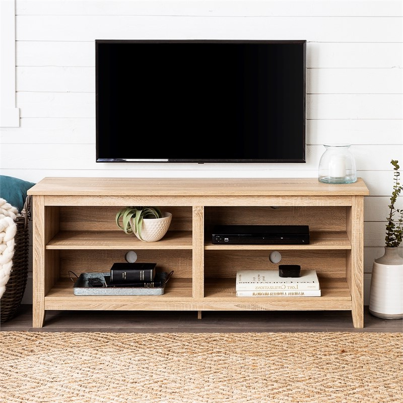 """Most Current 58"""" Essentials Wood Tv Stand With Natural Wood Finish Throughout Josie Tv Stands For Tvs Up To 58"""" (View 13 of 20)"""