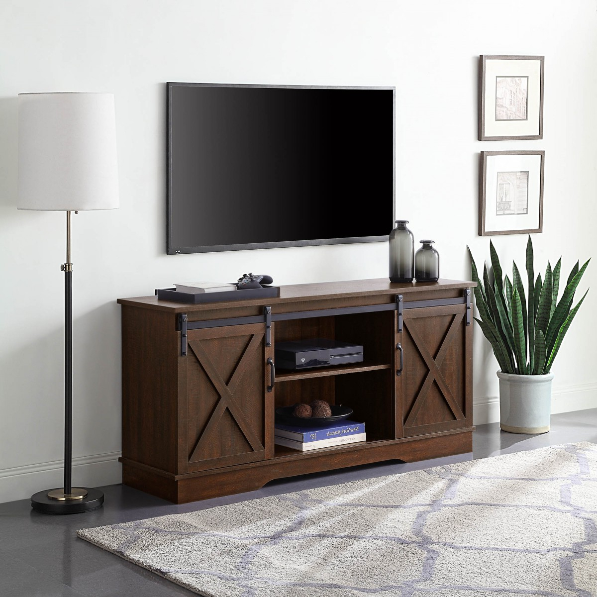 """Most Current Berene Tv Stands For Tvs Up To 58"""" With Belleze Modern Farmhouse Style 58 Inch Tv Stand With (View 10 of 20)"""