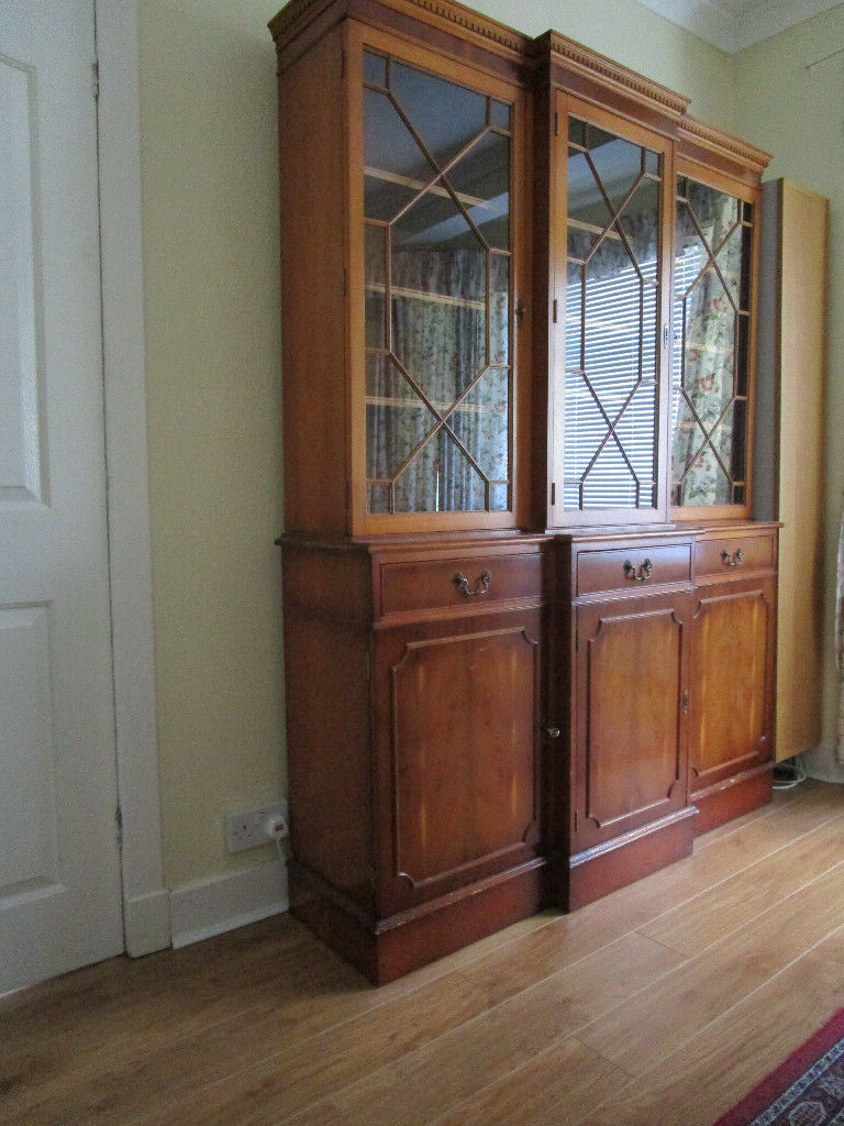 Most Current Breakfront Display Cabinet/bookcase With 3 Drawer Front Regarding Raymund (View 13 of 20)