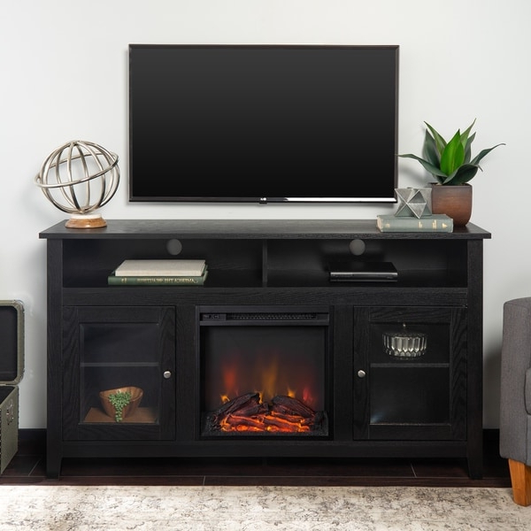 """Most Current Greggs Tv Stands For Tvs Up To 58"""" Regarding Shop 58"""" Highboy Fireplace Tv Stand Console – Black – 58 X (View 16 of 20)"""