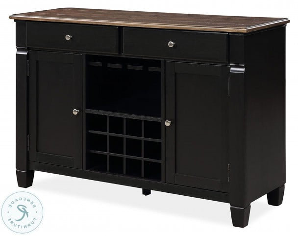 """Most Current Homeplace Brushed Dark Oak And Black Painted Server From Within Barkell 42"""" Wide 2 Drawer Acacia Wood Drawer Servers (View 19 of 20)"""