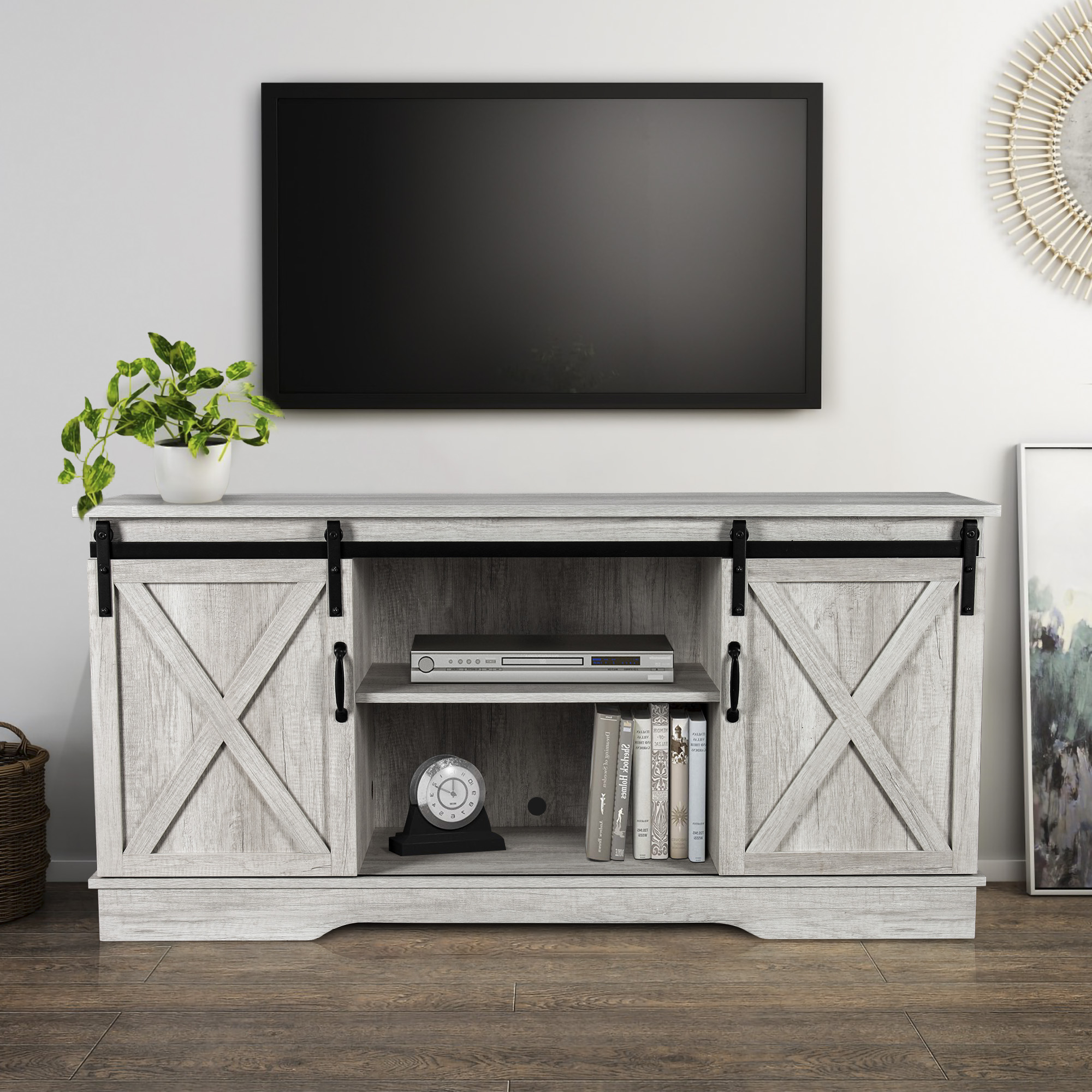 """Most Current Josie Tv Stands For Tvs Up To 58"""" Pertaining To Belleze Modern Farmhouse Style 58 Inch Tv Stand With (View 5 of 20)"""