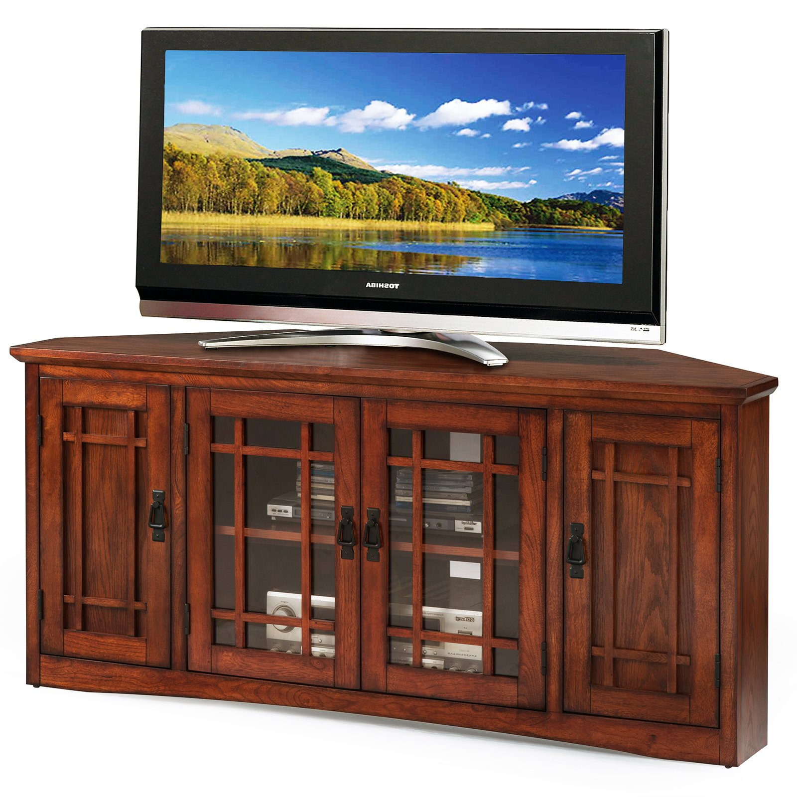 """Most Current Leick Home 56"""" Corner Tv Stand For Tv's Up To 60"""", Mission Intended For Lorraine Tv Stands For Tvs Up To 60"""" (View 6 of 20)"""