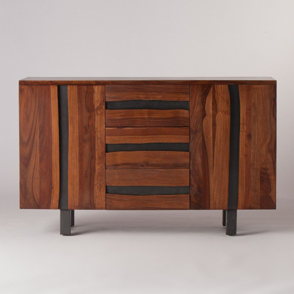 """Most Current Live Edges Sideboard With Metal 2 Door 3 Drawer Small Throughout Orianne 55"""" Wide 2 Drawer Sideboards (View 15 of 20)"""