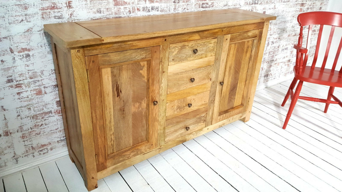 Most Current Rustic Natural Hardwood Sideboard Room Storage Unit / Hutch Inside Wales Storage Sideboards (View 16 of 20)