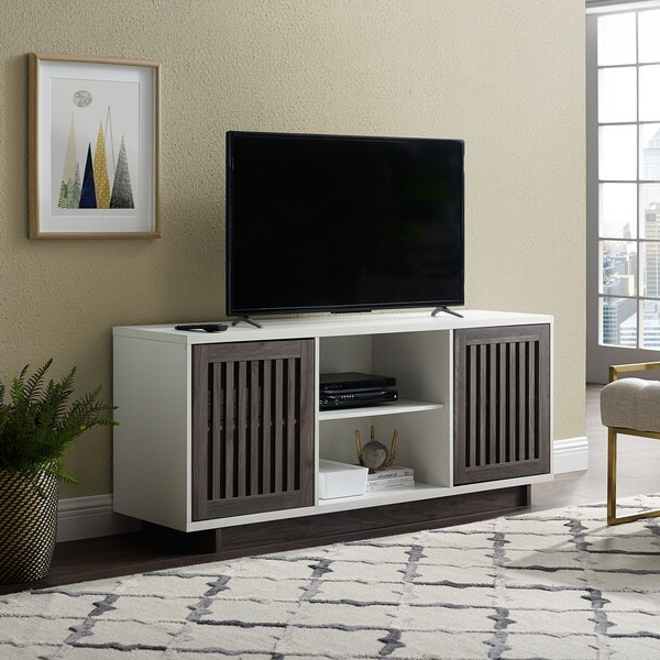 Most Current Shop Strick & Bolton Hevia 56 Inch Slatted Tv Stand – Free Throughout Kemble Tv Stands For Tvs Up To (View 4 of 20)