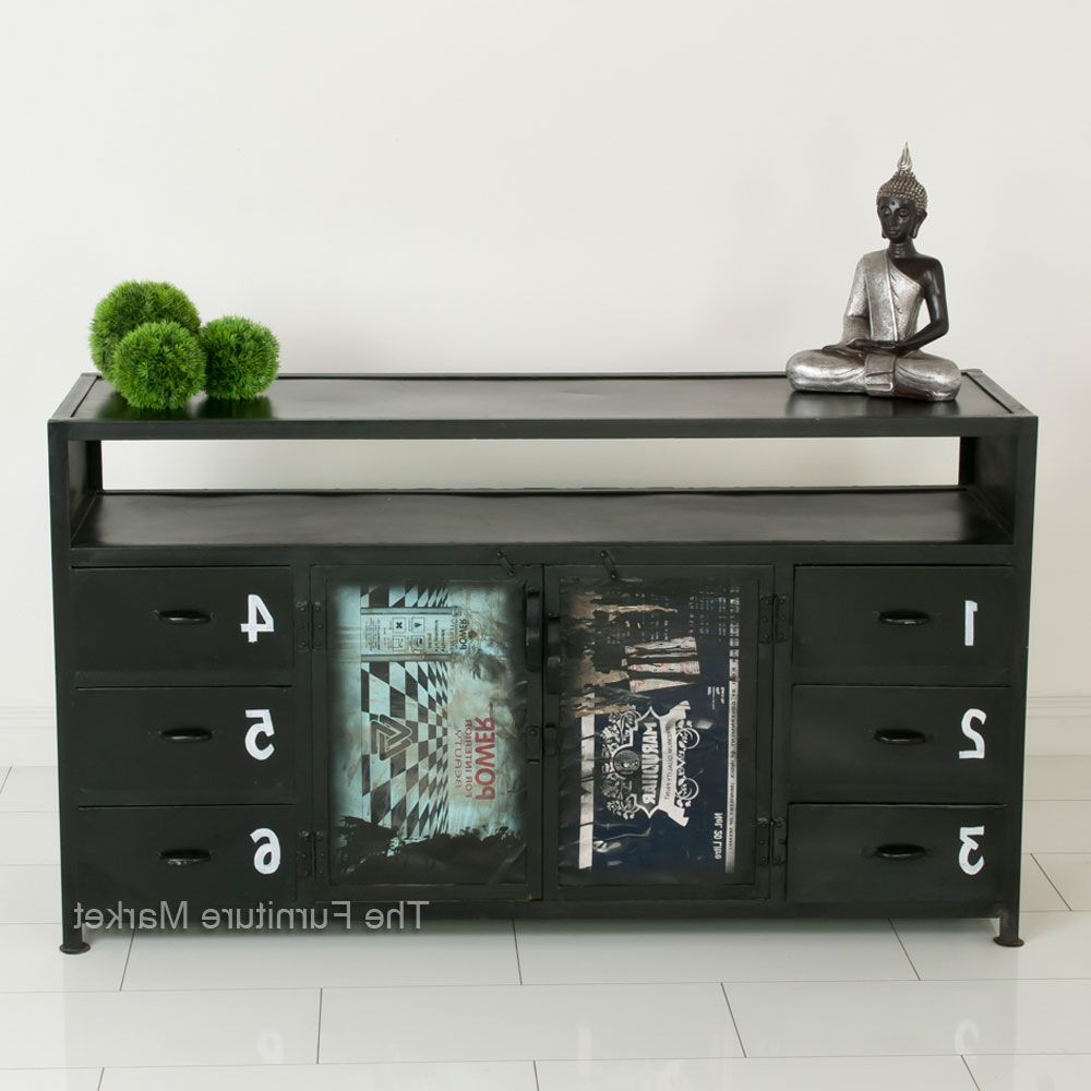 """Most Popular Bruin 56"""" Wide 2 Drawer Sideboards Within Industrial 6 Drawer, 2 Door Sideboard (View 19 of 20)"""