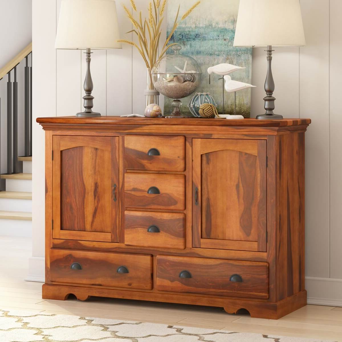 Most Popular Burlington Rustic Solid Wood 5 Drawer Dining Large Within Orner Traditional Wood Sideboards (View 8 of 20)