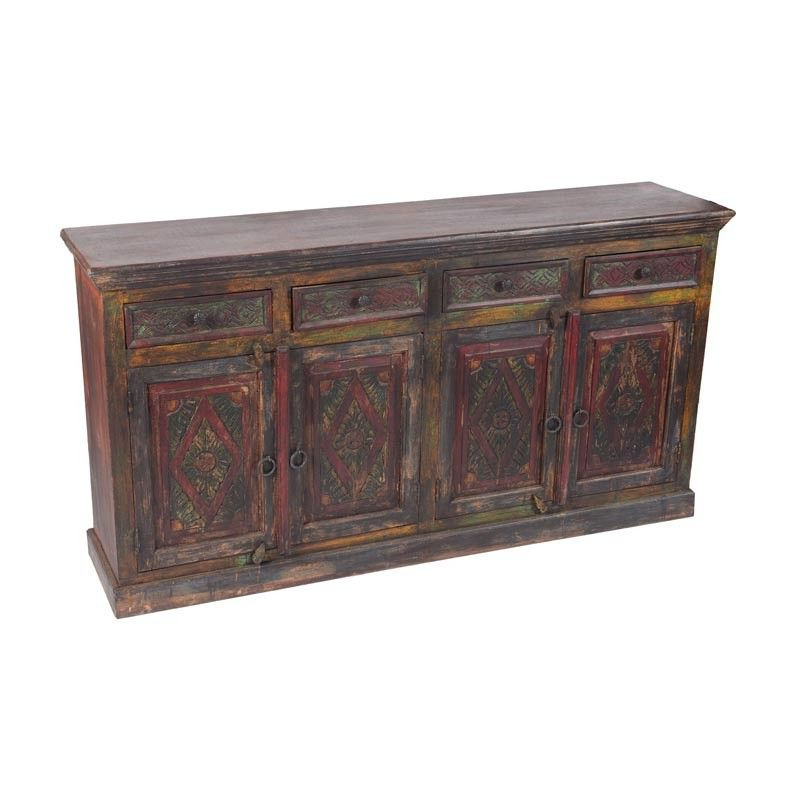 """Most Popular Moti Furniture – Historic Carved 4 Door, 4 Drawer Buffet Inside Nahant 36"""" Wide 4 Drawer Sideboards (View 18 of 20)"""