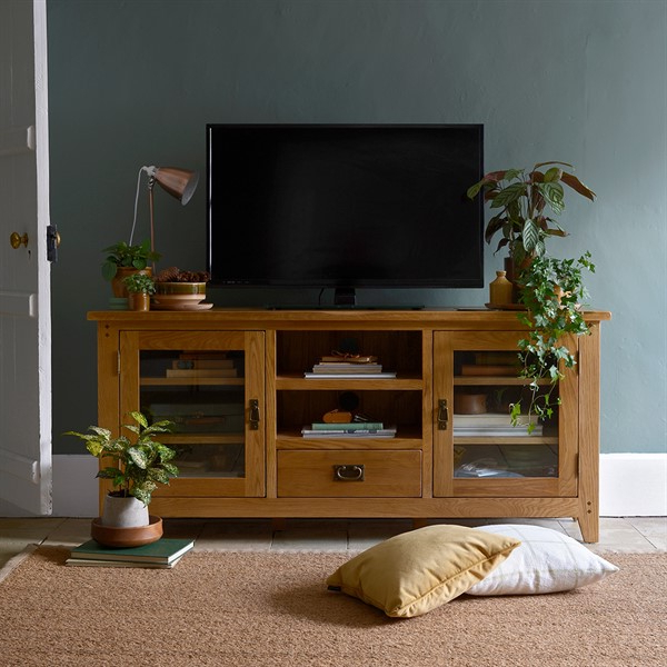 """Most Popular Oakland Glass Tv Stand – Up To 65"""" – The Cotswold Company Throughout Finnick Tv Stands For Tvs Up To 65"""" (View 13 of 20)"""