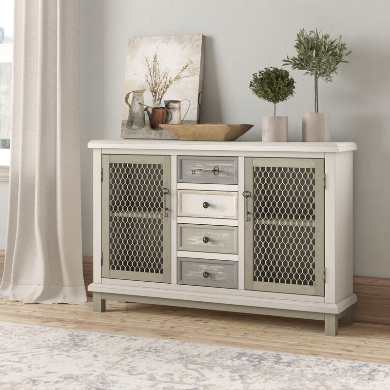 """Most Popular One Allium Way® Fugate 48"""" Wide 4 Drawer Credenza With Ronce 48"""" Wide Sideboards (View 10 of 20)"""