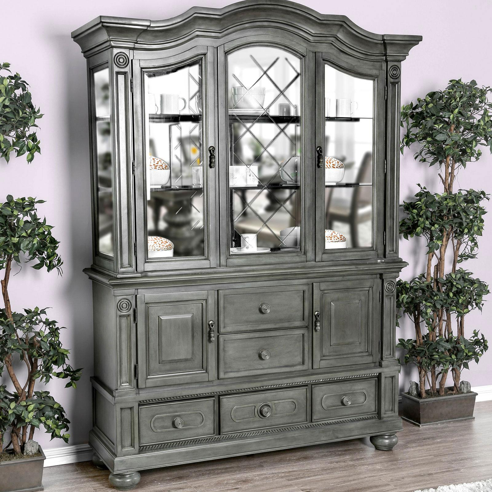Most Popular Orner Traditional Wood Sideboards For Traditional Wood Hutch Buffet In Gray Alpenafurniture (View 14 of 20)