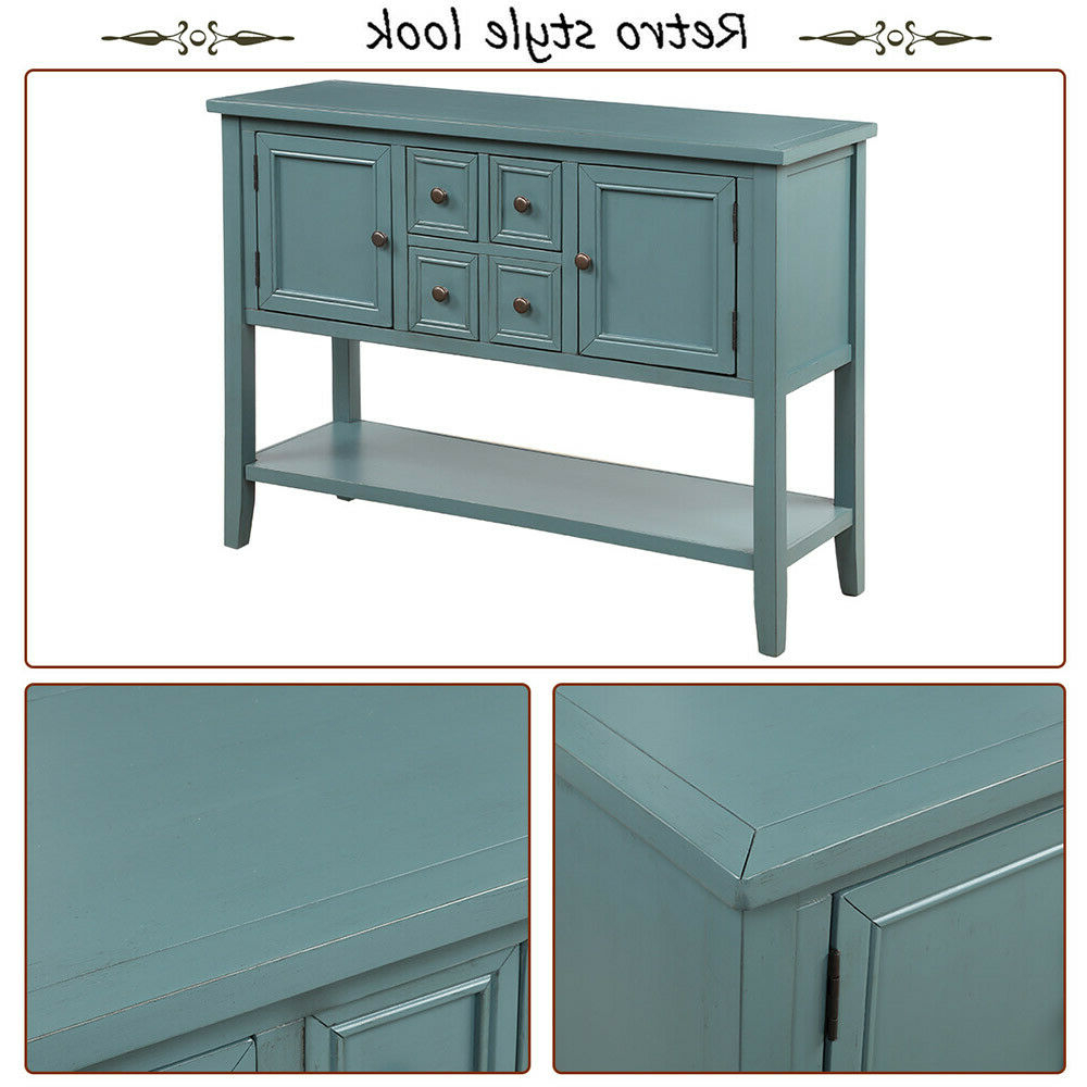 """Most Popular Searsport 48"""" Wide 4 Drawer Buffet Tables Throughout Wood Console Table Accent Table Sideboard Buffet W/cabinet (View 8 of 20)"""