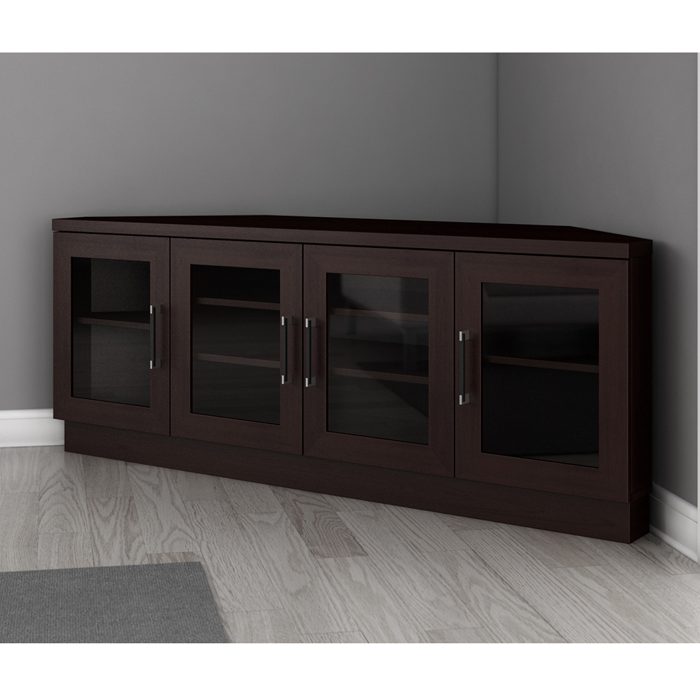 """Most Recent Furnitech Ft60cccw – Contemporary Corner Tv Stand Media With Aaric Tv Stands For Tvs Up To 65"""" (View 8 of 20)"""