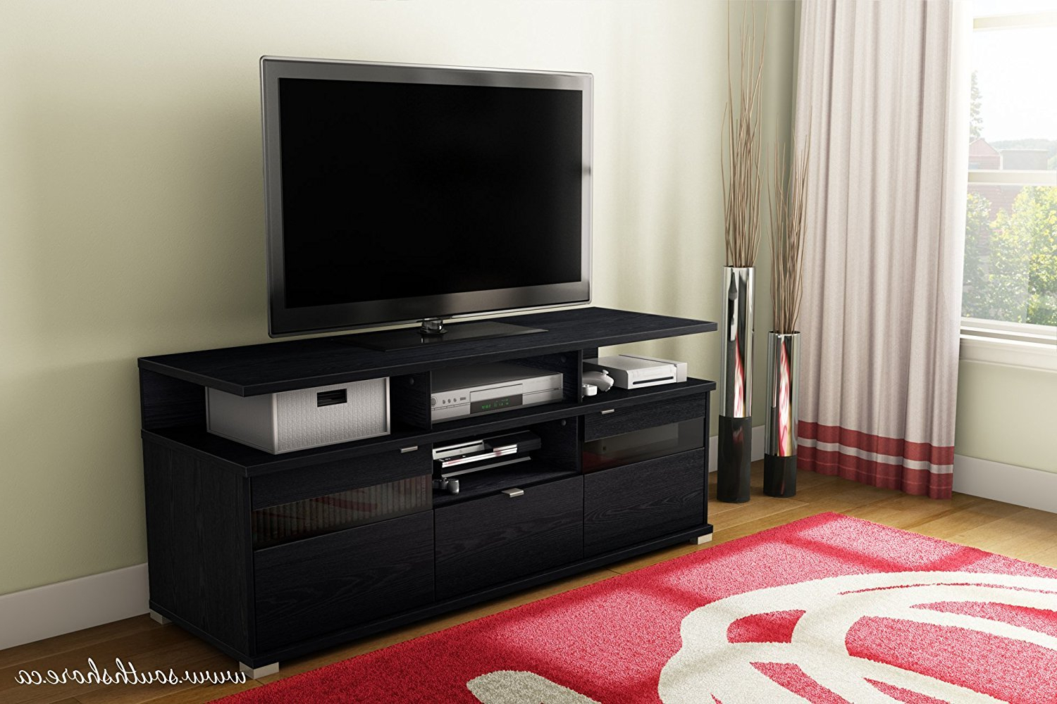 """Most Recent Labarbera Tv Stands For Tvs Up To 58"""" Regarding Black Tv Stand Flat Screen 58 Inch Television (View 16 of 20)"""