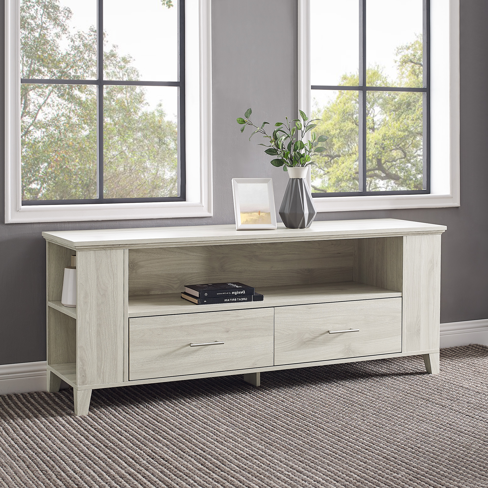 """Most Recent Shilo Tv Stands For Tvs Up To 65"""" Pertaining To Birch Tv Stand With Adjustable Shelves For Tvs Up To (View 7 of 20)"""