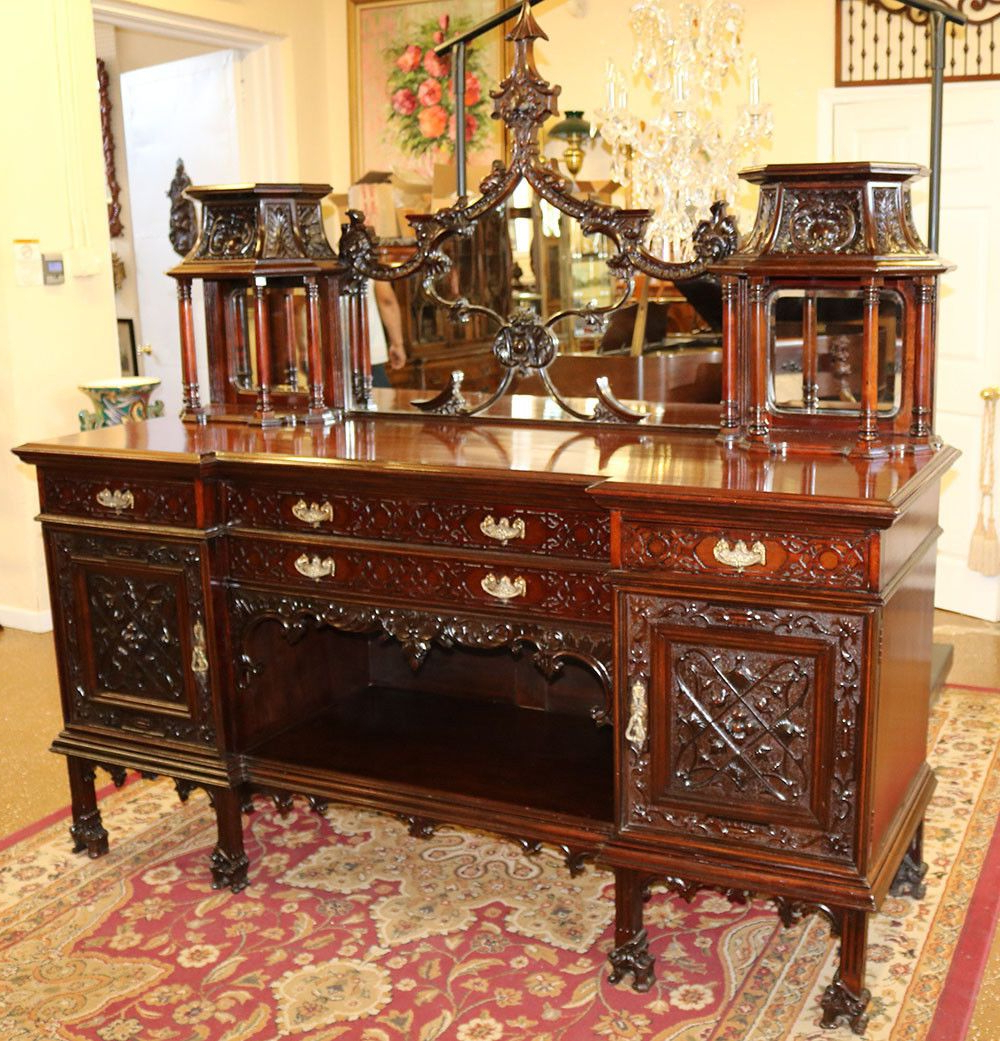 """Most Recent Stotfold 32"""" Wide Drawer Servers Inside Gorgeous Carved Mahogany Monumental Chinese Chippendale (View 15 of 20)"""