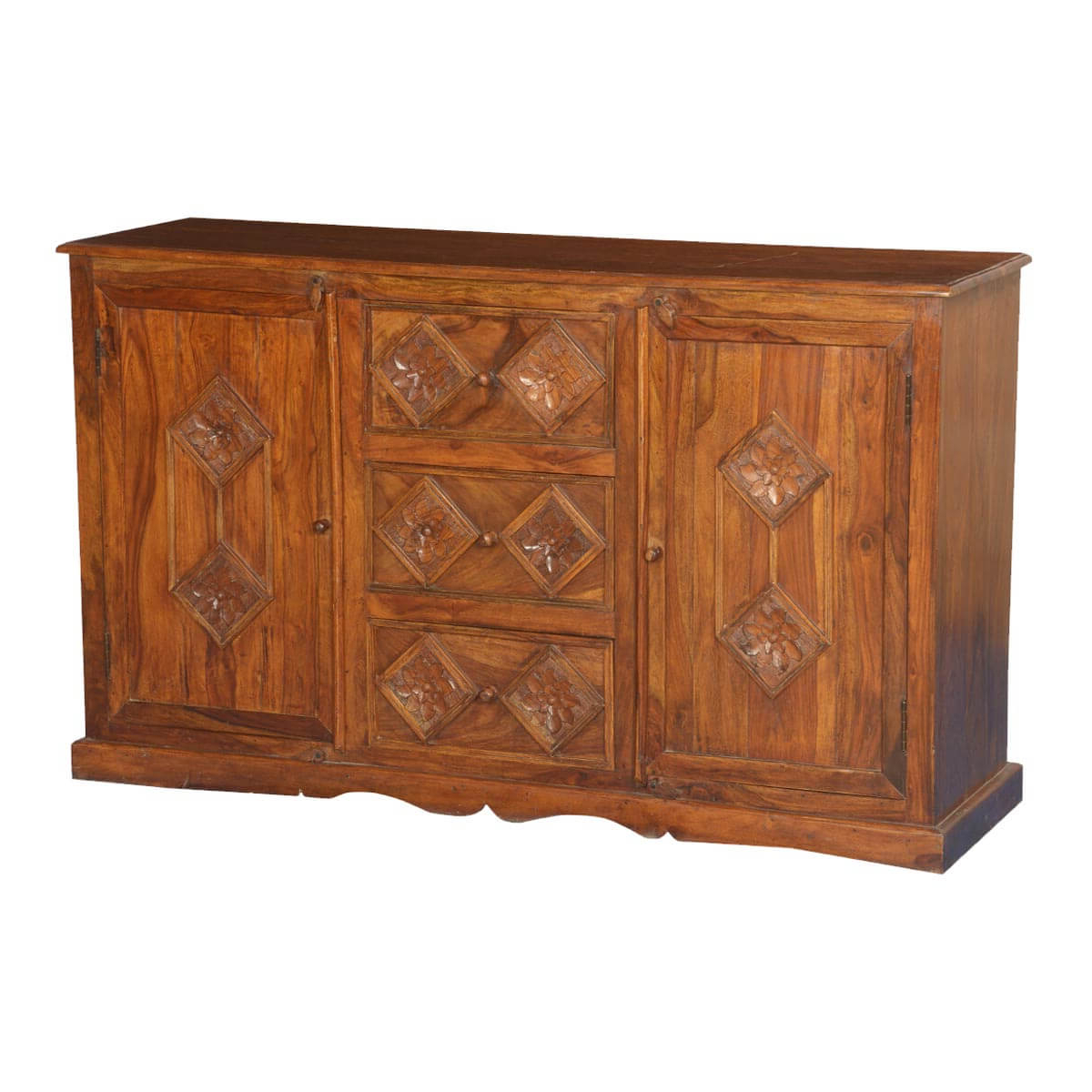Most Recently Released 3 Drawer Sideboards Inside Diamond Rose Solid Wood 3 Drawer Sideboard (View 3 of 20)