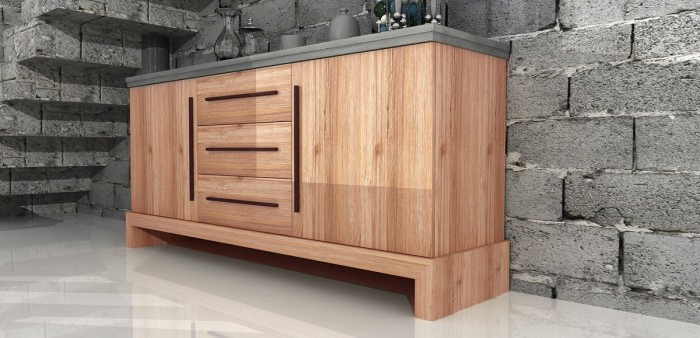 """Most Recently Released Fahey 58"""" Wide 3 Drawer Acacia Wood Sideboards For Modrest Civic Modern Concrete & Acacia Buffet – Buffets (View 10 of 20)"""