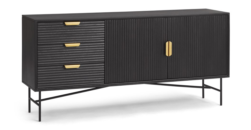 Most Recently Released Haines Wide Sideboard, Charcoal Black Mango Wood (View 11 of 20)