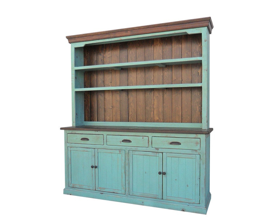 """Most Recently Released Hutch And Buffet Sideboard Farmhouse Reclaimed Wood China Within Kinston 74"""" Wide 4 Drawer Pine Wood Sideboards (View 5 of 20)"""