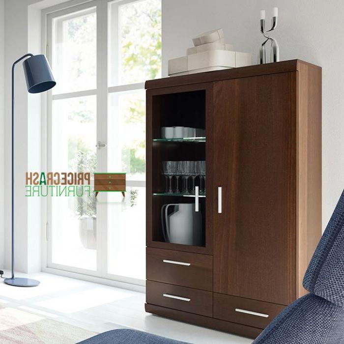 Most Up To Date 3 Drawer And 2 Door Cabinet With Metal Legs Regarding Imperial 2 Door 3 Drawer Glazed Display Cabinet In Dark (View 17 of 20)