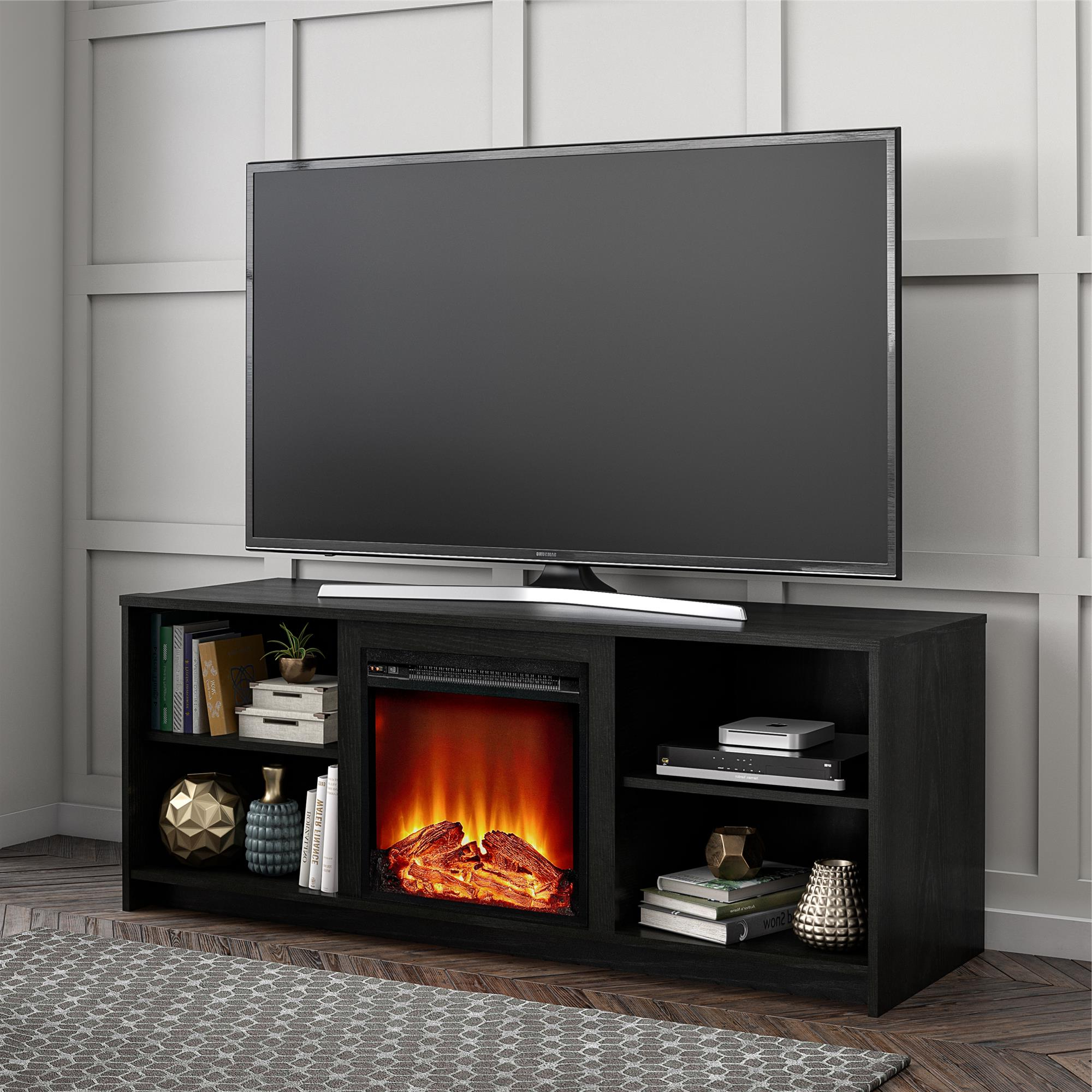 """Most Up To Date Dallas Tv Stands For Tvs Up To 65"""" For Mainstays Fireplace Tv Stand For Tvs Up To 65"""", Black Oak (View 2 of 20)"""