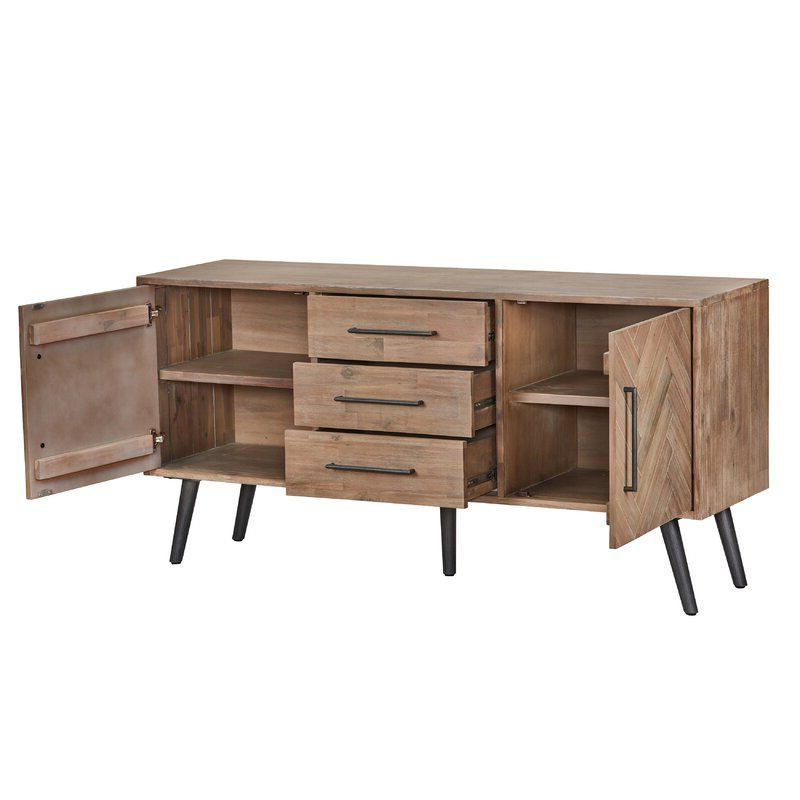 """Most Up To Date Heurich 59"""" Wide Buffet Tables With Regard To Lexy 65"""" Wide 3 Drawer Acacia Wood Buffet Table In (View 18 of 20)"""