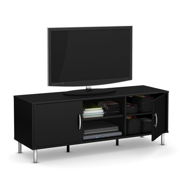 """Most Up To Date Jace Tv Stands For Tvs Up To 58"""" Inside South Shore Renta 2 Door 58"""" Wood Tv Stand In Black – (View 14 of 20)"""