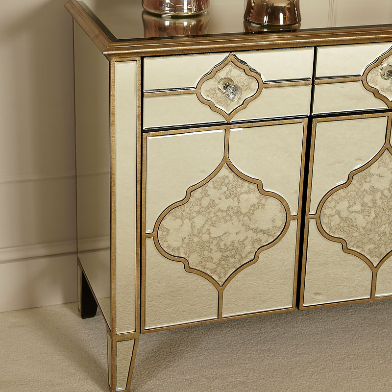 """Most Up To Date Sahara Marrakech Moroccan Gold Mirrored 3 Drawer 3 Door With Ismay 56"""" Wide 3 Drawer Sideboards (View 17 of 20)"""
