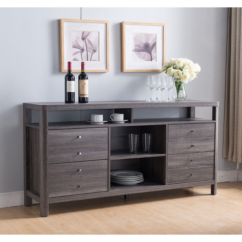 """Myndi 60"""" Wide Sideboards Intended For Fashionable Ebern Designs Ahnalise 60"""" Wide 4 Drawer Sideboard (View 5 of 20)"""