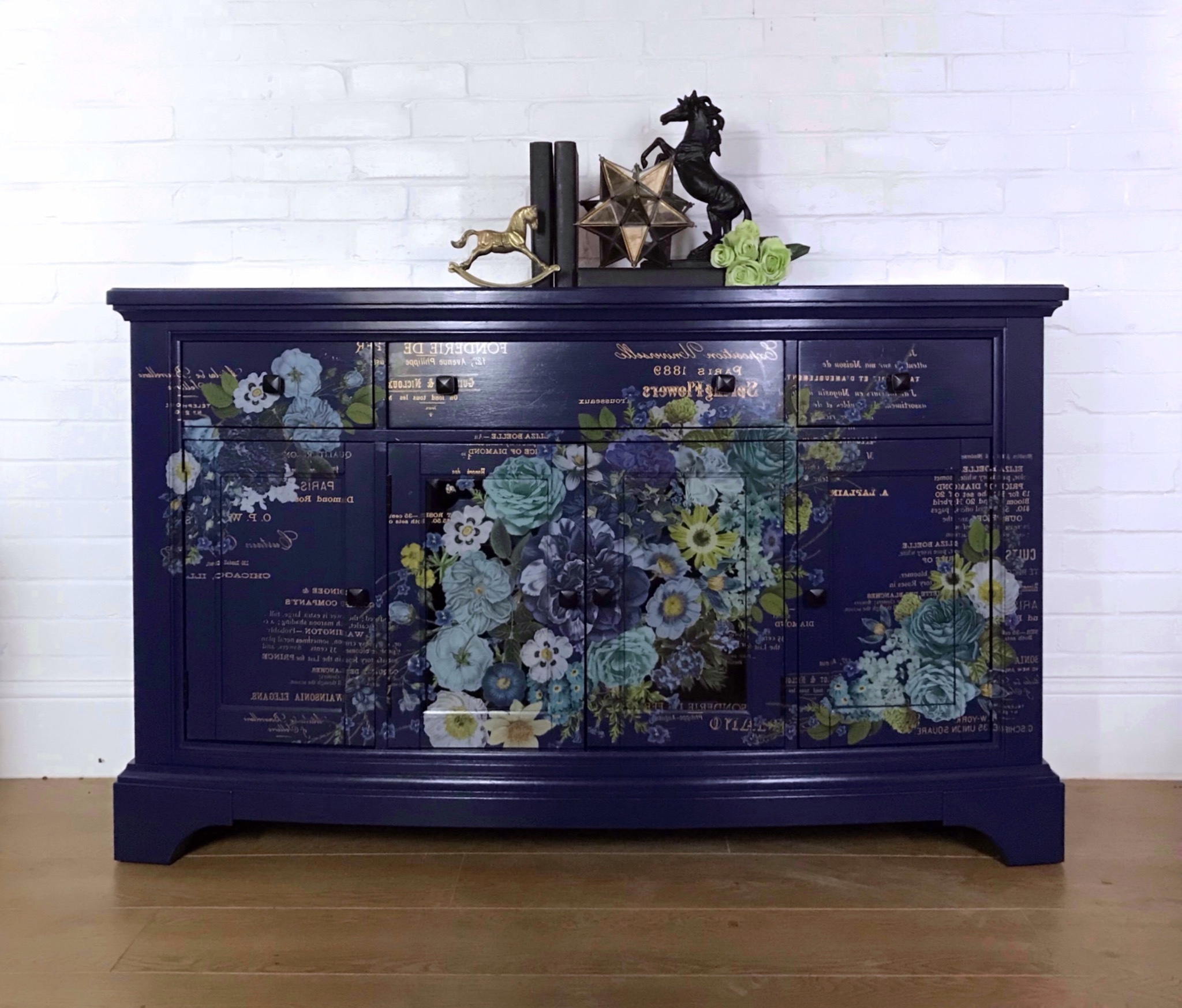 Navy Blue Sideboard And Bottle Storage With Floral Design With Regard To Well Liked Wales Storage Sideboards (View 18 of 20)